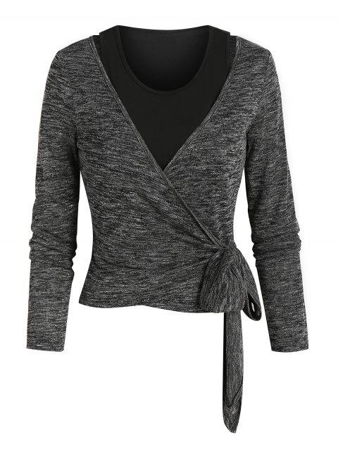 Knotted Heathered Wrap T-shirt and Crop Top