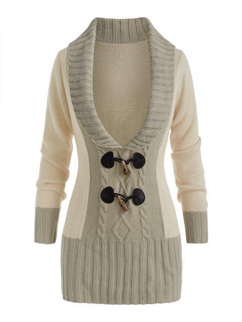 Colorblock Horn Button Plunging Sweater