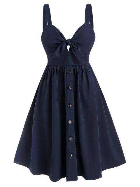 Knotted Buttoned Back Zipper Plus Size Dress
