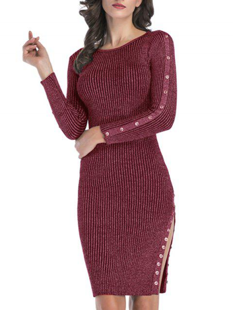 Rib Knit Mock Button Slit Metallic Thread Dress