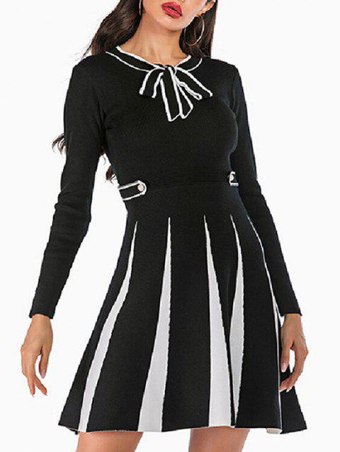 Pussy Bow Knitted Mock Button Two Tone Dress