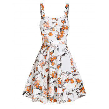 Sleeveless Floral Print Layered Belted Dress
