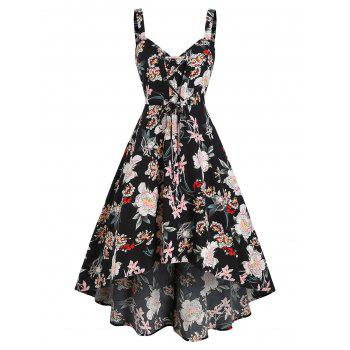 Floral Printed Lace Up High Low Dress