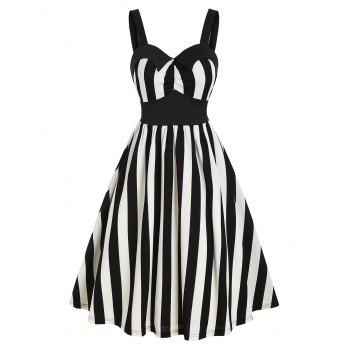 Striped Print Sleeveless Vintage Flare Dress