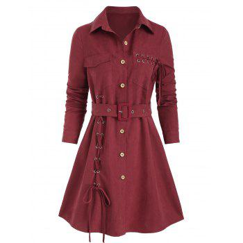Lace Up Button Up Belted Shirt Dress