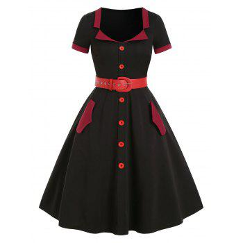 Two Tone Button Pockets Belted Vintage A Line Dress