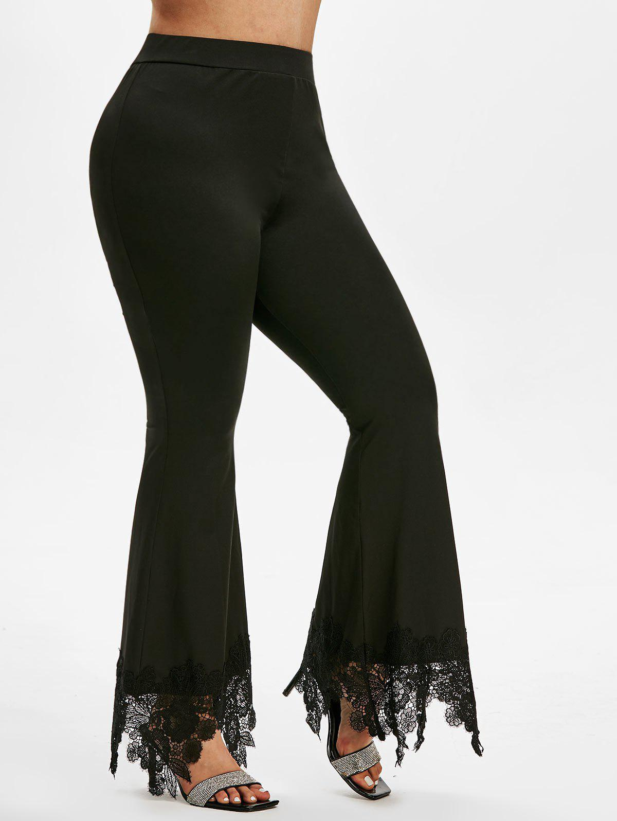 Plus Size High Rise Lace Insert Bell Bottom Pants - BLACK 2X
