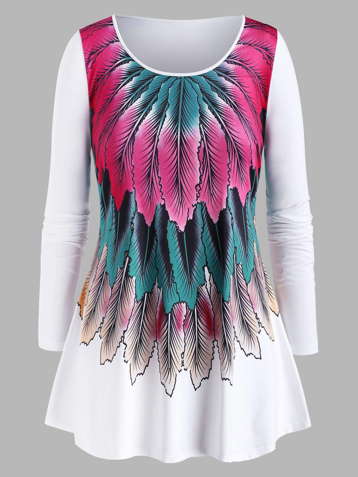 Plus Size Feather Print Long Sleeve Tee - WHITE 5X