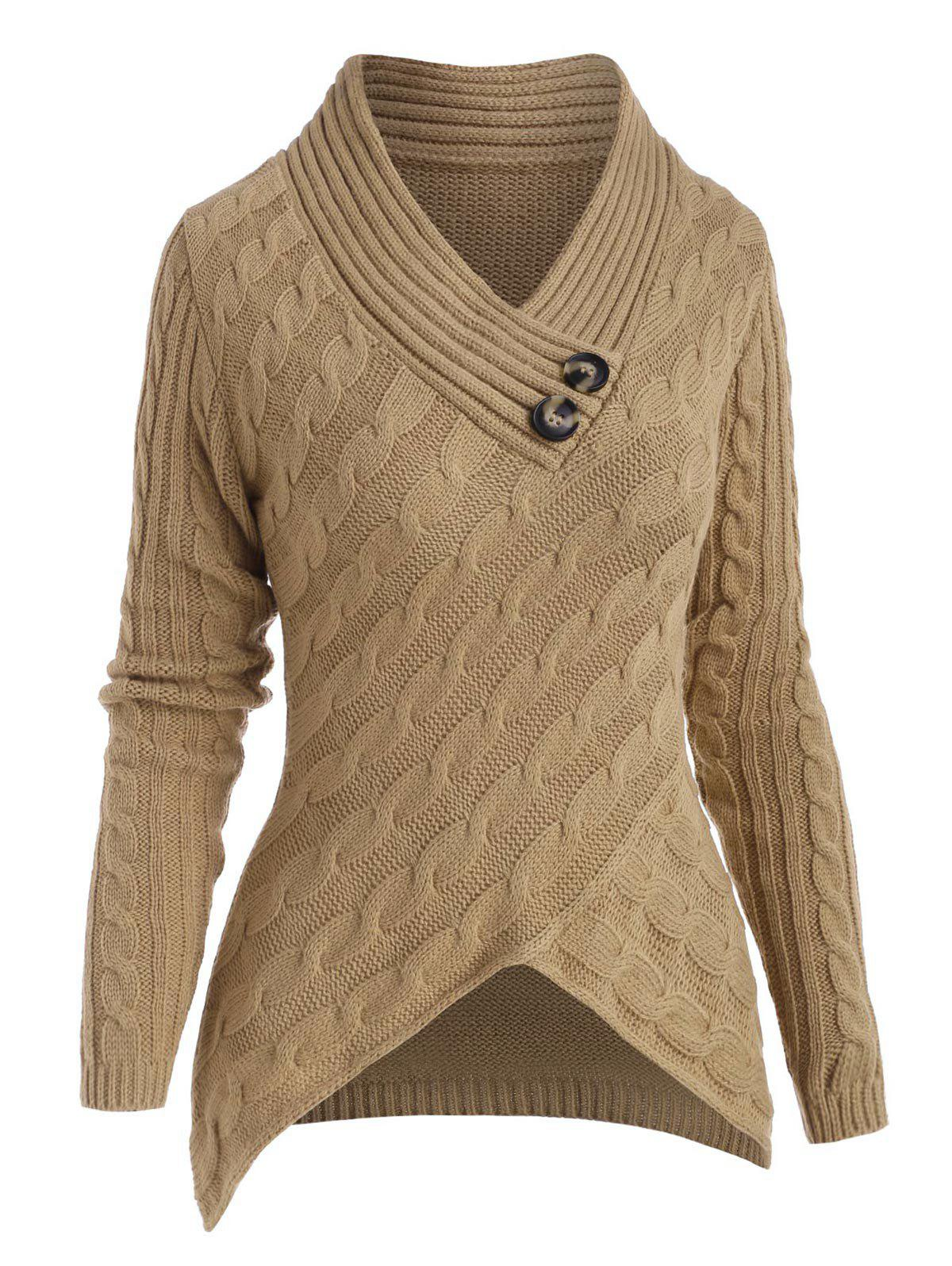 Cable Knit Mock Button Dip Hem Sweater - LIGHT COFFEE M