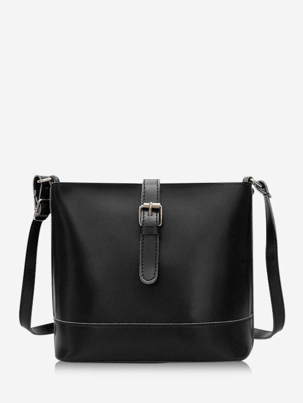 Retro Square Buckle Crossbody Bag - BLACK