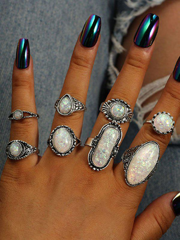 8 Piece Faux Geometric Gemstone Finger Rings Set - SILVER