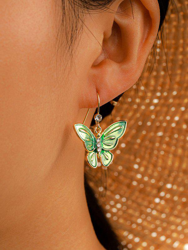Rhinestone Butterfly Fresh Style Hook Earrings - SEA GREEN