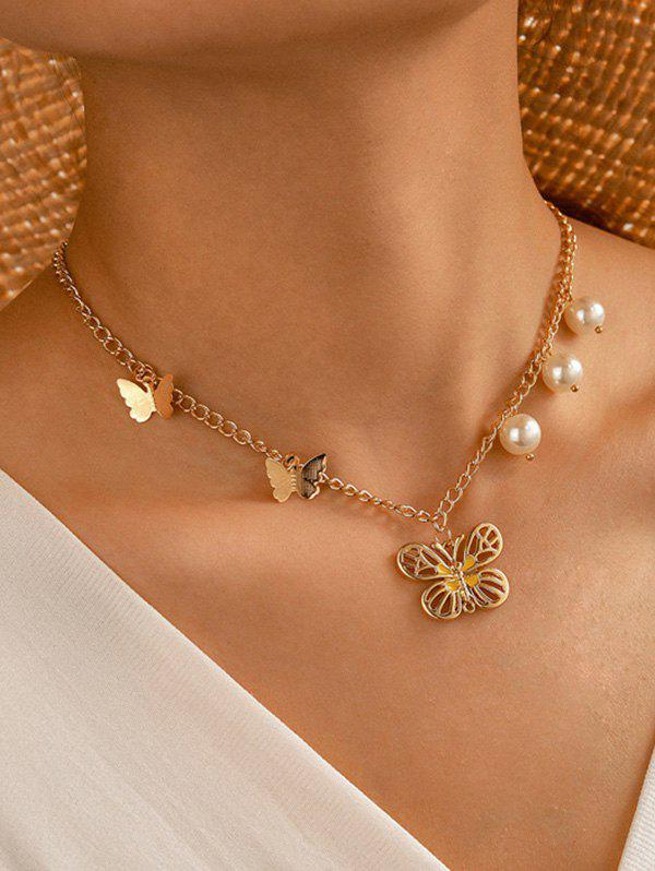 Faux Pearl Butterfly Pendant Chain Necklace - GOLDEN