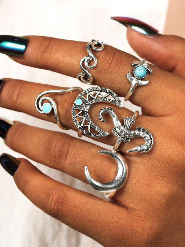 6 Piece Seahorse Moon Carved Finger Rings Set - SILVER