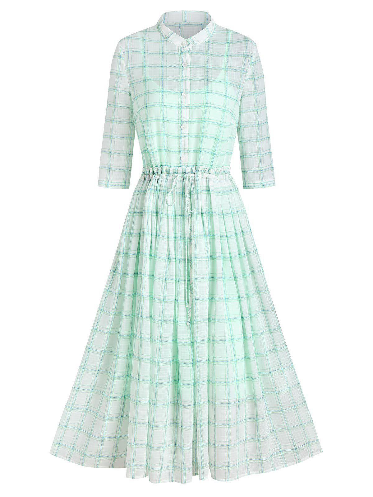 Plaid Print Toggle Drawstring Dress and Slip Dress - ALGAE GREEN M