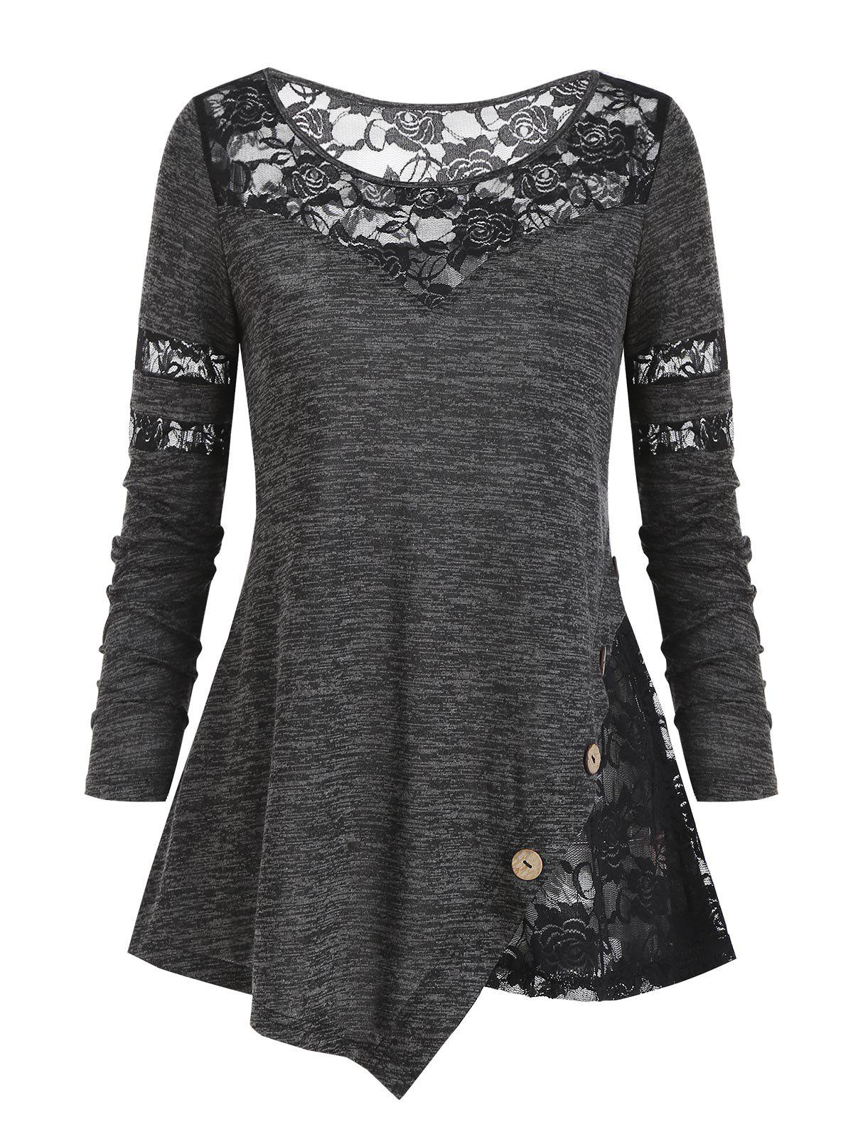Floral Lace Panel Space Dye Button T Shirt - CARBON GRAY XL