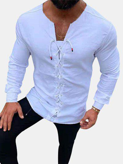Plain Lace Up Long Sleeve Leisure Shirt - WHITE L