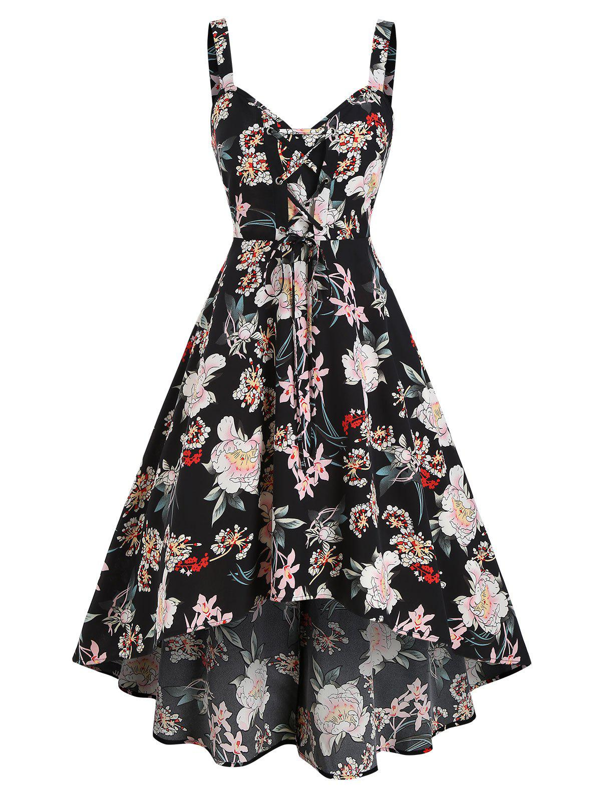 Floral Printed Lace Up High Low Dress - BLACK 2XL