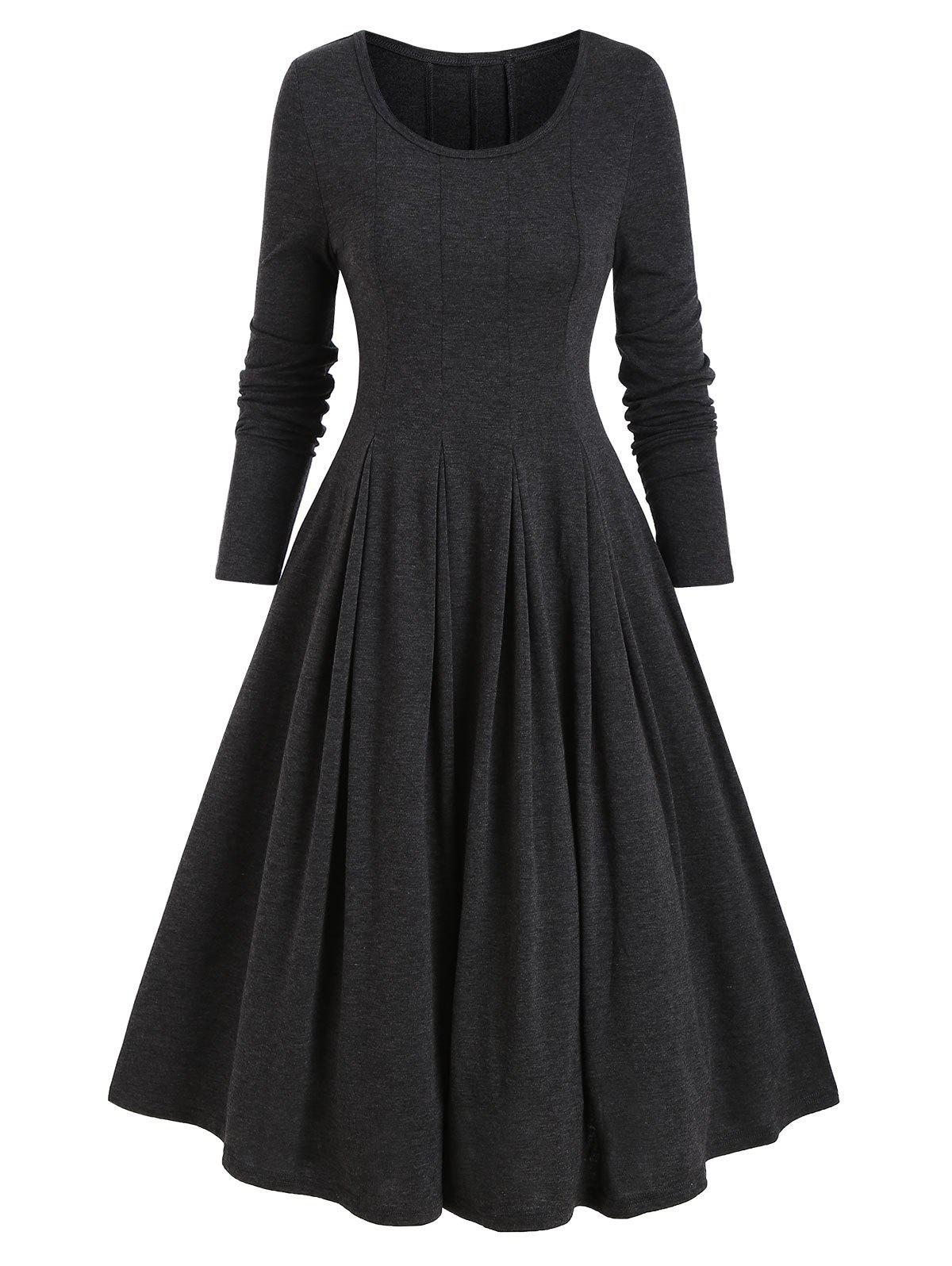 Long Sleeve Heathered Pleated Dress - DARK GRAY XL