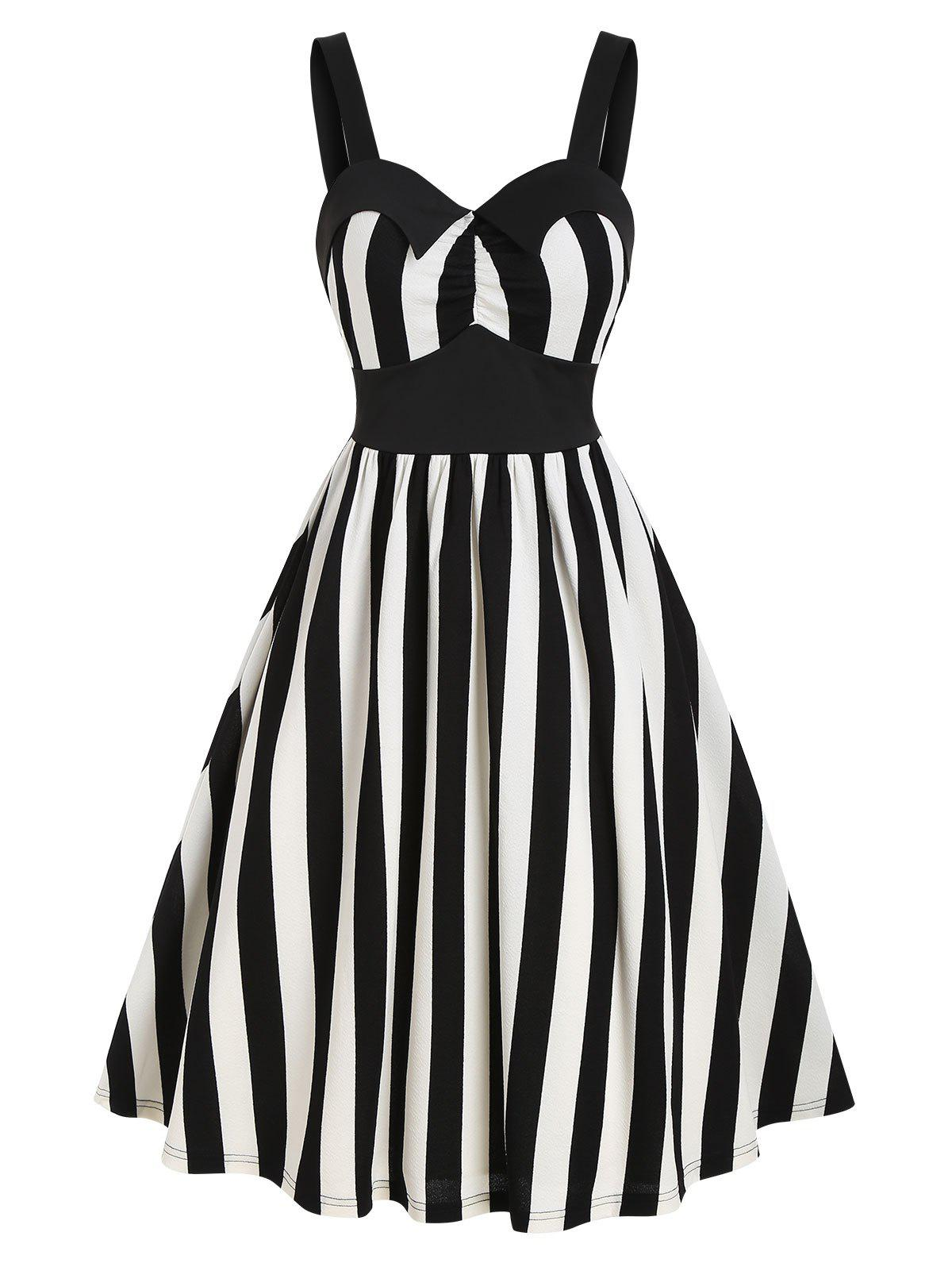 Striped Print Sleeveless Vintage Flare Dress - BLACK M