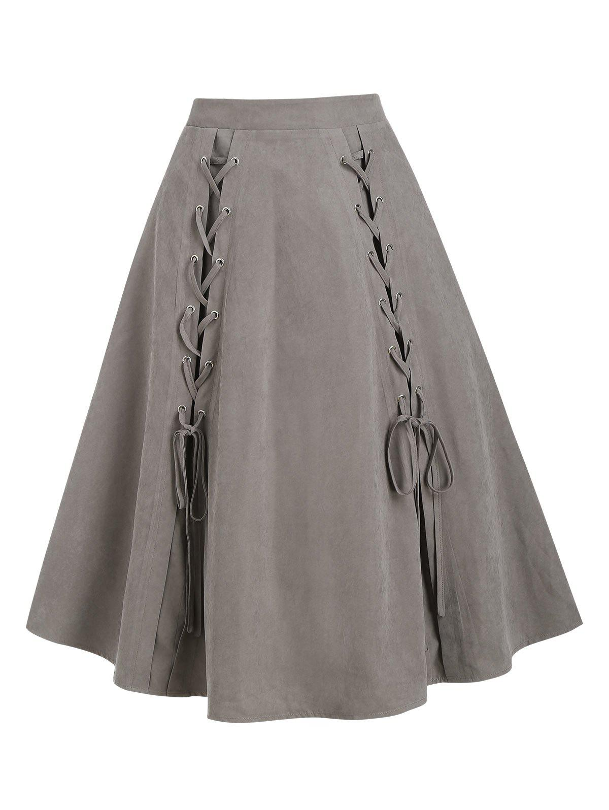 Pure Color Lace Up A Line Pull On Skirt - LIGHT COFFEE L