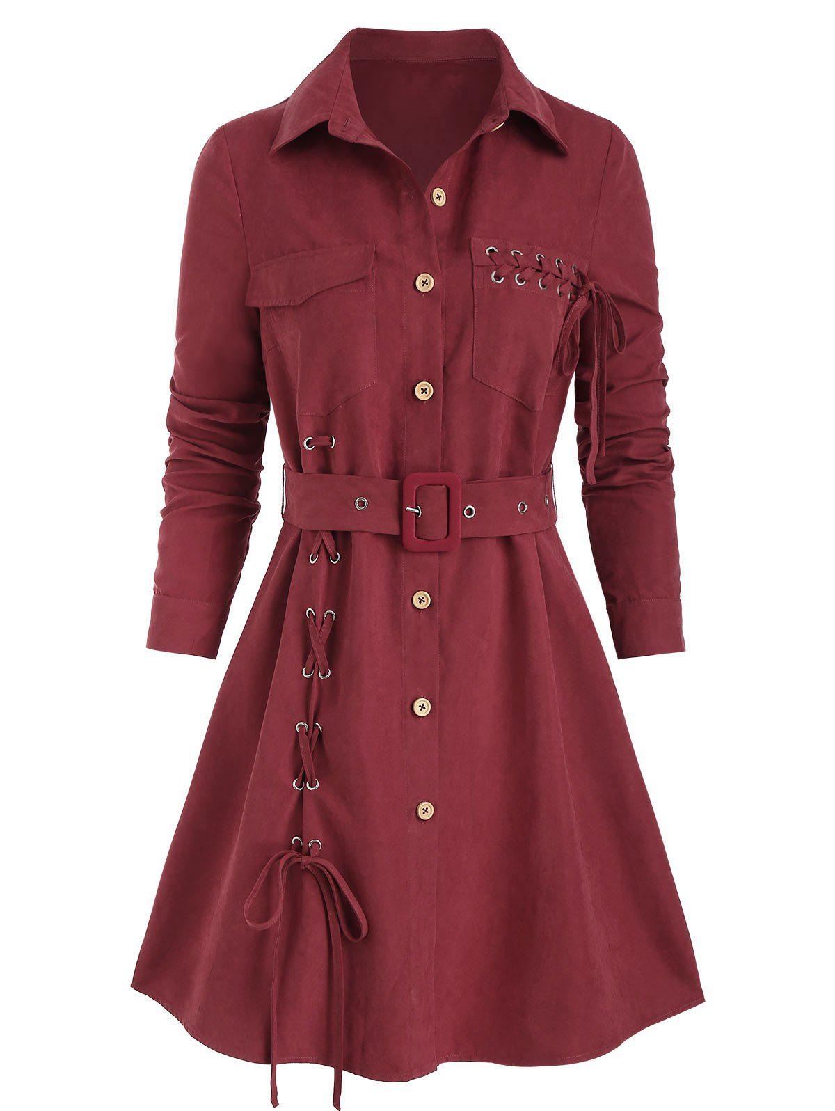 Lace Up Button Up Belted Shirt Dress - RED WINE 3XL