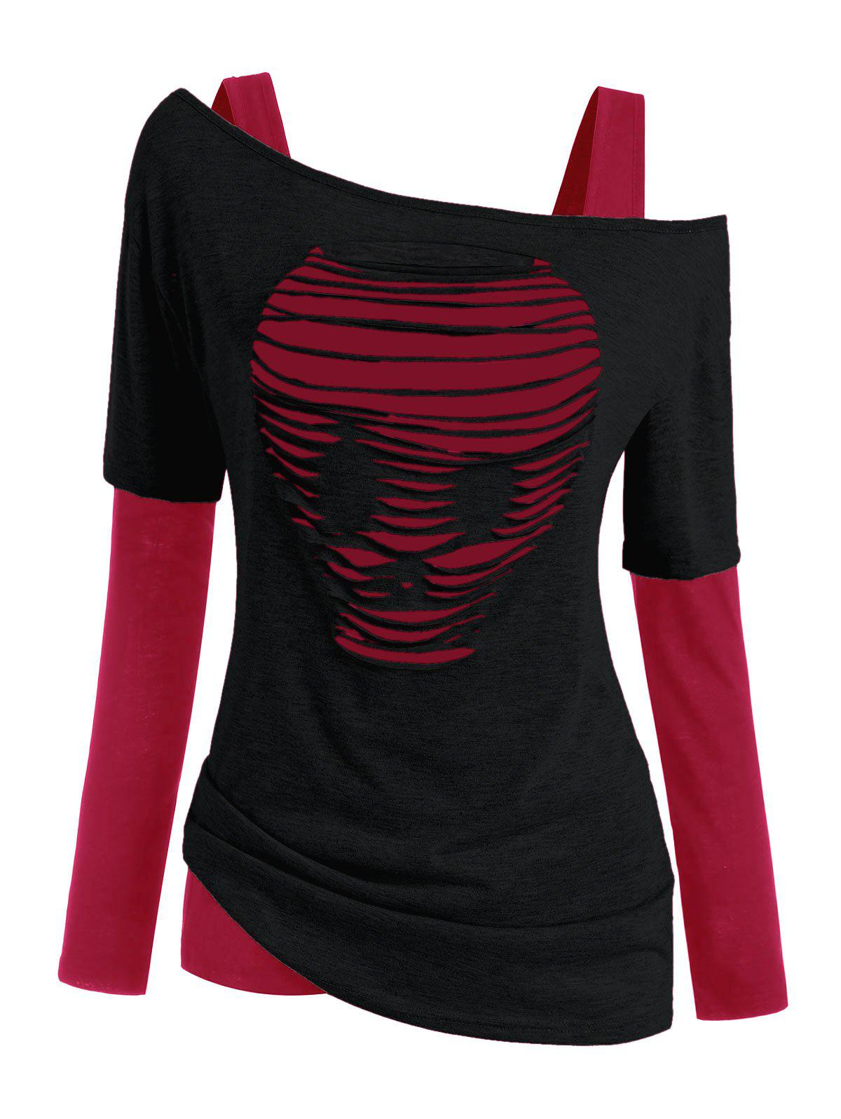Halloween Skull Distressed Two Piece T-shirts - RED 2XL