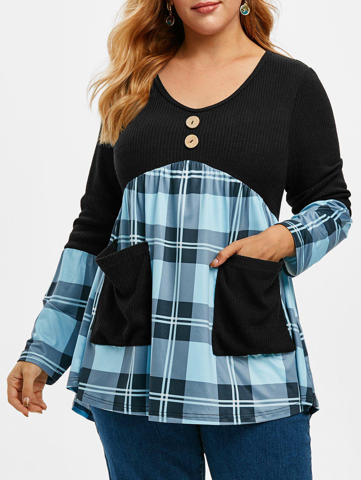 Ribbed Panel Plaid V Neck Combo Plus Size Knitwear - BLUE 2X