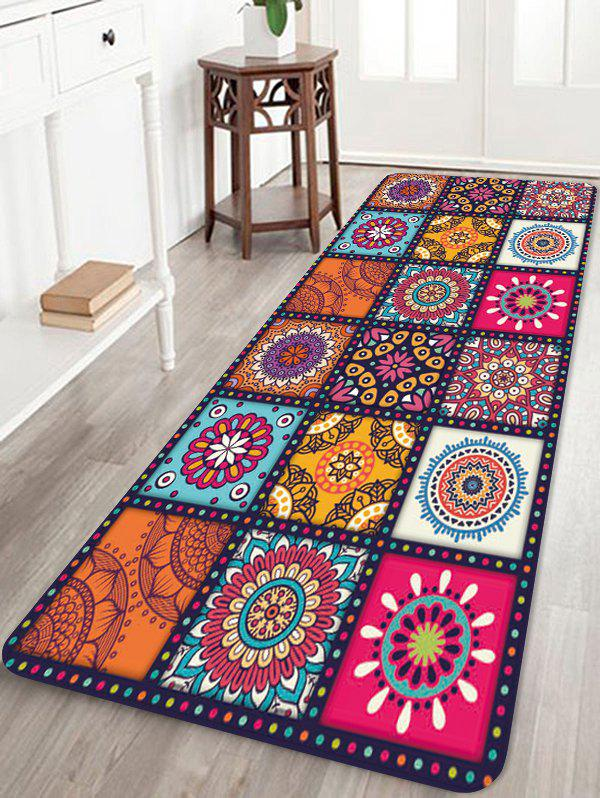 Bohemian Patchwork Floral Printing Floor Mat - multicolor A W24 X L71 INCH