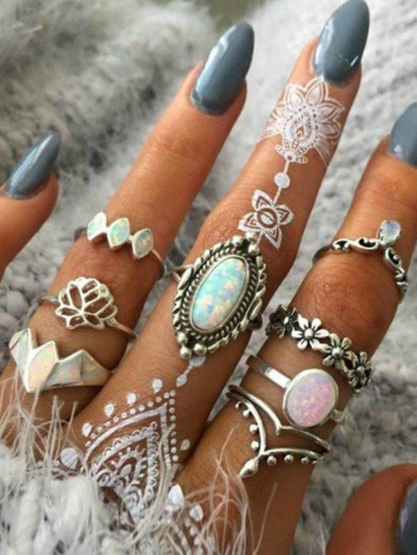 8 Piece Retro Floral Crown Carved Finger Rings Set - SILVER