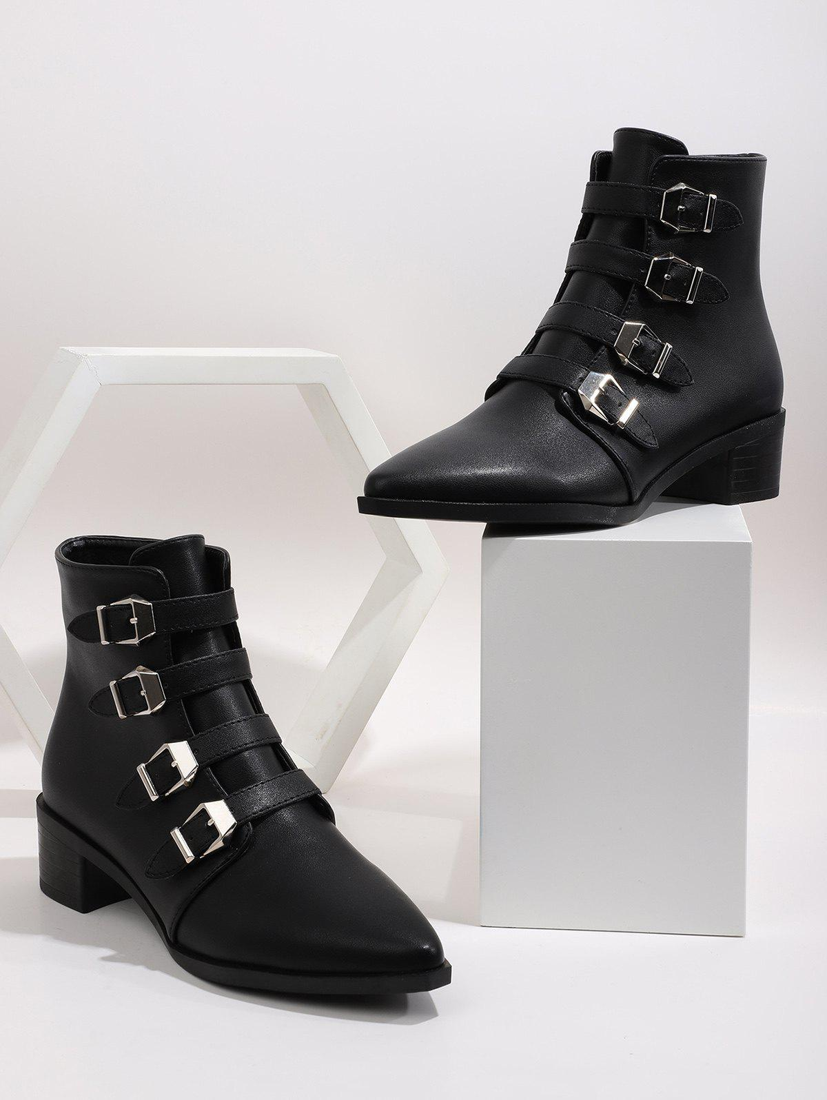 Plain Buckle Strap Pointed Toe Ankle Boots - BLACK EU 41