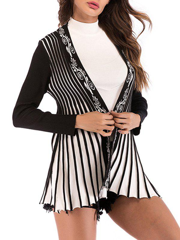 Flower Striped Open Front Long Cardigan - BLACK XL