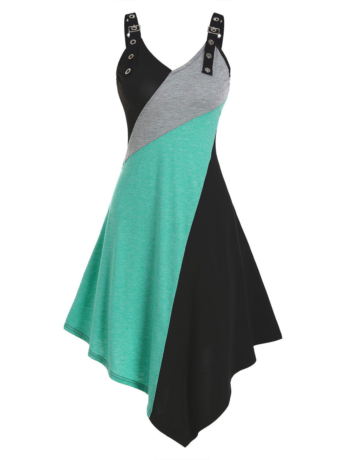 Colorblock Midi Asymmetric Cami Dress - multicolor A XL