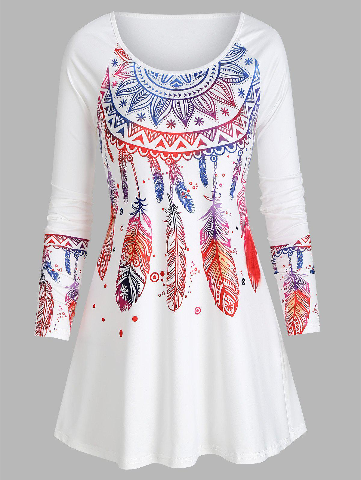 Colorful Feather Print Ralgan Sleeve Casual T Shirt - MILK WHITE 3XL
