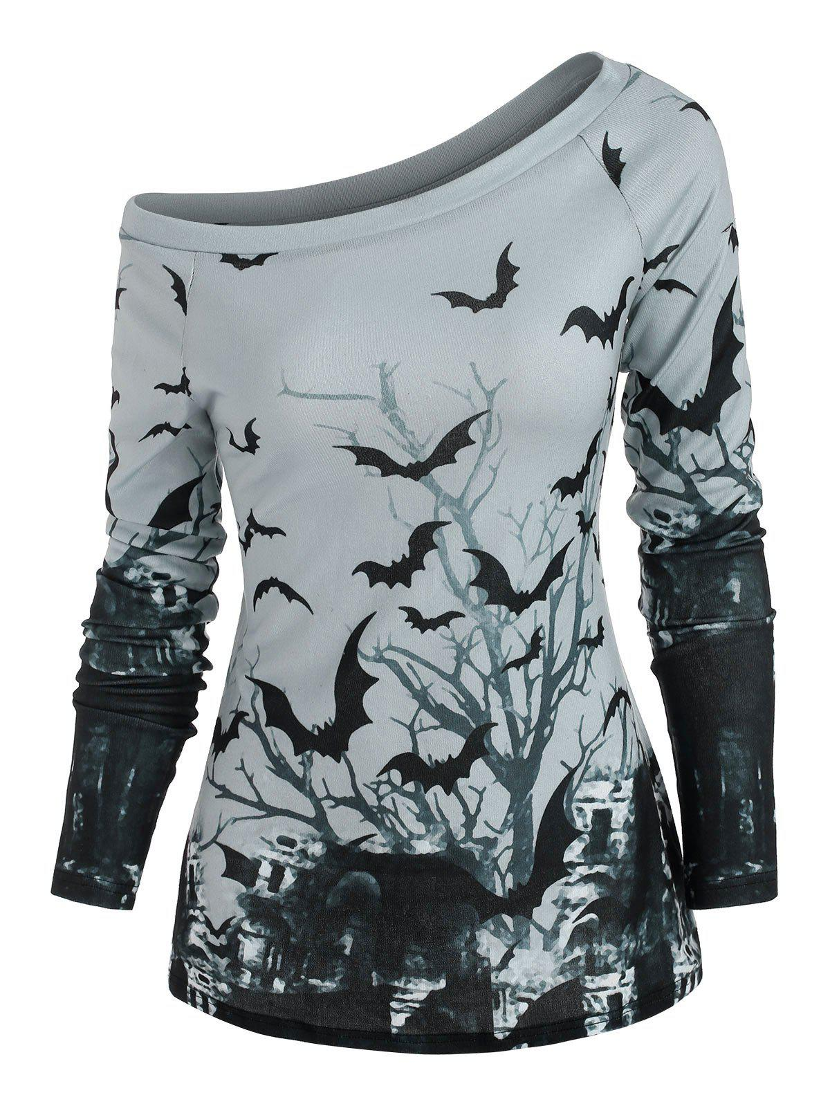Tree Bat Print One Shoulder Ralgan Sleeve Knitwear - LIGHT GRAY 2XL