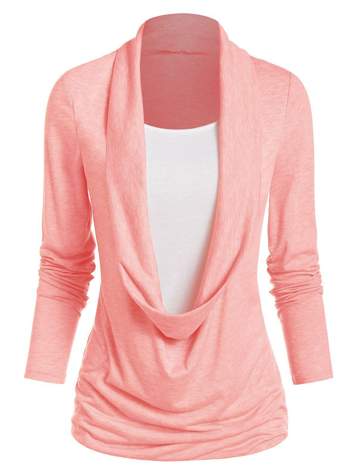 Long Sleeve Heathered Faux Twinset Casual T-shirt - PINK M