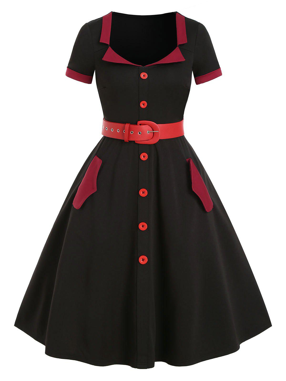 Two Tone Button Pockets Belted Vintage A Line Dress - NIGHT M