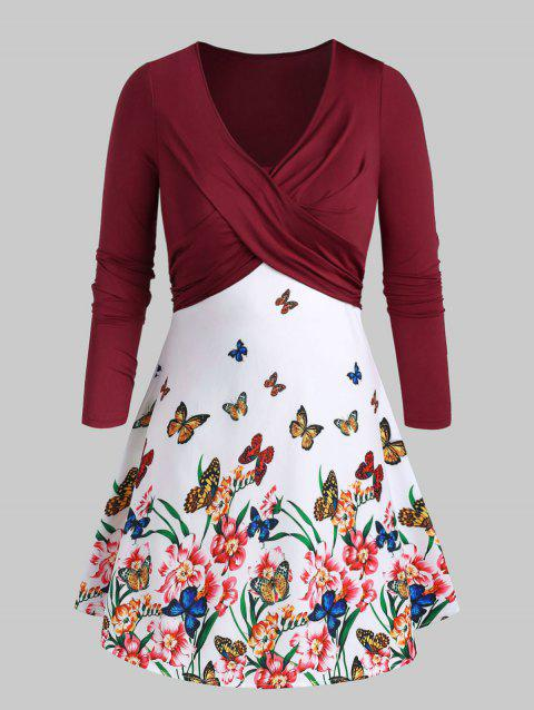 Plus Size Front Twist Flora Butterfly Print Dress