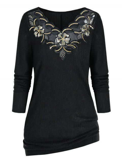 Plus Size Sequin Embroidered Knitwear