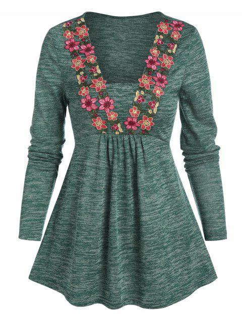 Floral Embroidery Space Dye Skirted T Shirt