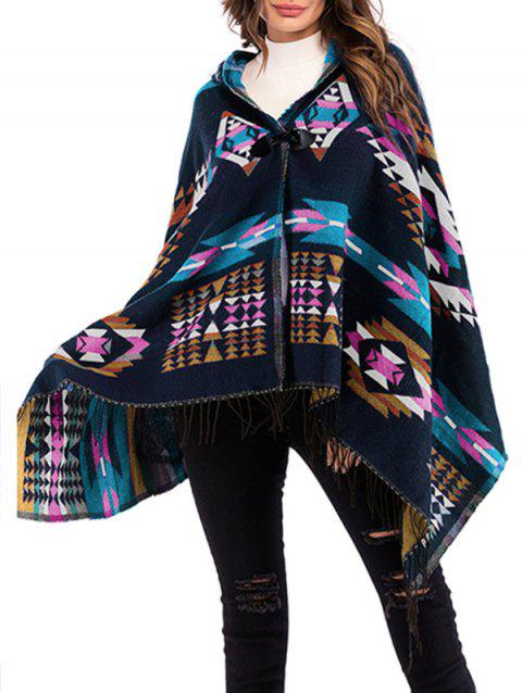 Geo Hooded Horn Button Fringed Poncho