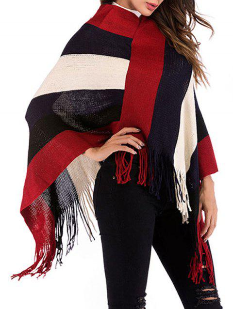 Wide Stripes Fringed Poncho
