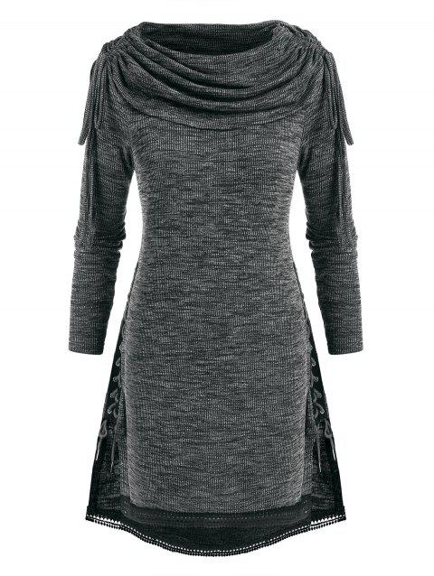 Plus Size Lace Up Cinched Heathered Foldover Knitwear