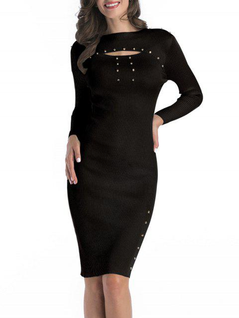 Rivet Ribbed Cutout Bodycon Dress