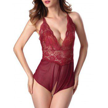 Lace Criss Cross Open Crotch Lingerie Romper