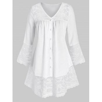 Plus Size Lace Inserted Buttons Tunic Blouse