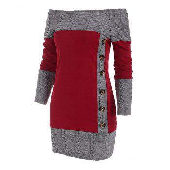 Combo Mock Button Cable Knit Sweater Dress