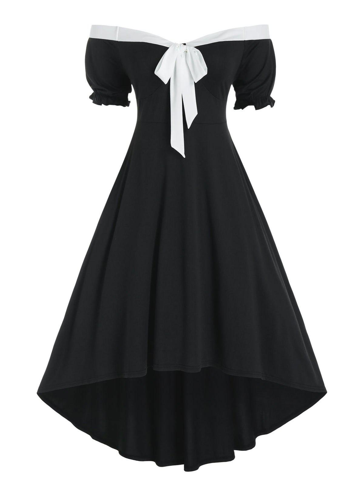 Plus Size Bicolor Off The Shoulder Puff Sleeve Dress - BLACK 5X