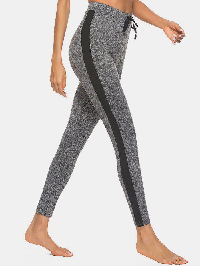 Space Dye Tied High Waisted Contrast Leggings - GRAY M