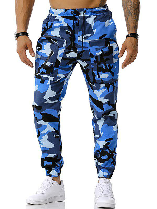 Drawstring Camouflage Print Tapered Cargo Pants - BLUE XL
